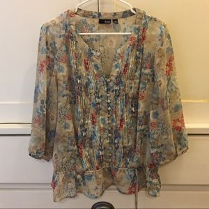 a.n.a. 🎄 Floral Button Neck Gathered Waist Blouse