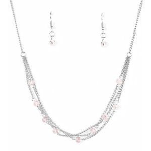🆕 Silver & Iridescent Pink Crystal Necklace Set