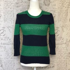 Moth AnthropologieGreen Blue Striped Sweater Small