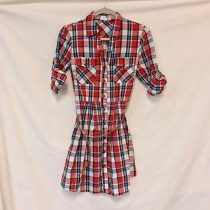 MFYO Boutique Plaid Button Down Tunic Dress