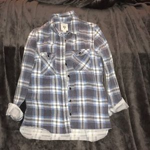Blue and white Billabong Flannel.