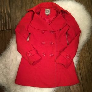 Small Fitted Red Forever 21 Peacoat