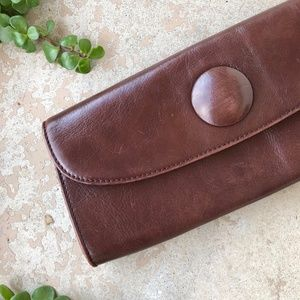 """Hobo International Brown Magnetic """"Button"""" Clutch"""