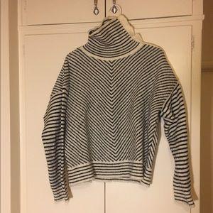 ASOS Cream/Black Striped Turtleneck Sweater
