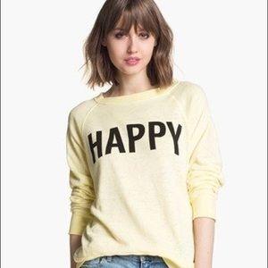 Wildfox Yellow Happy pullover sweatshirt