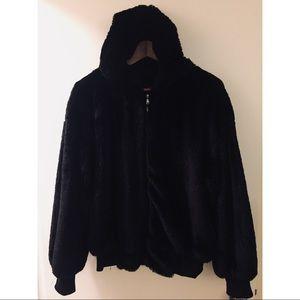 Hooded Luxury Faux Fur Coat
