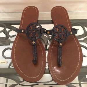 Tory Burch blue mini miller sandals like new! 9