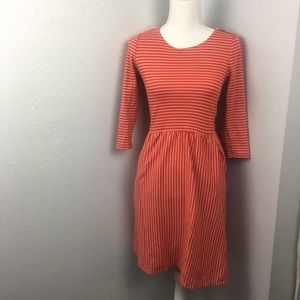 Boden Striped 3/4 Sleeve Red Dress Long