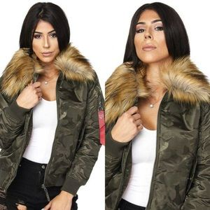 Bomber fur jackets army pattern