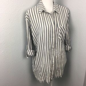 Umgee Striped button front high low shirt