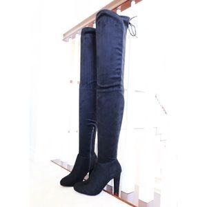 Amaya55 black micro stretch suede thigh hi boots