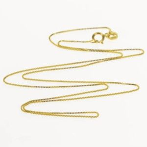 """14K Gold 0.7mm Box Chain Link Necklace 18"""" inches"""
