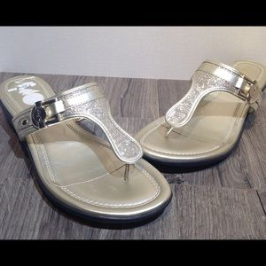 unisa womens gold glitter sandals size 11