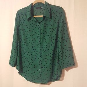 Kelly Green Polka Dot Button Down by Ana