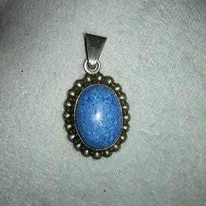 Vintage Boho Chic Turquoise and Silver Pendant