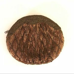 Bronze & brown beaded rounded evening clutch