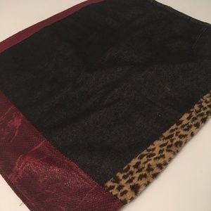 XOXO, black denim and print skirt, size 3,4