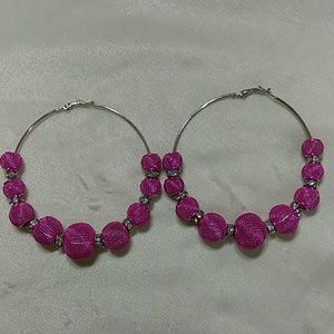 Silver and Pink Hoop Earrings with diamonds