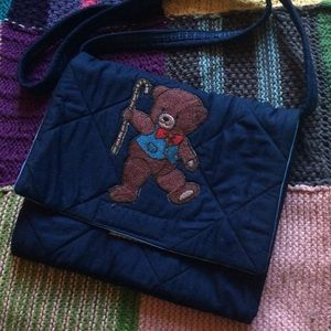 Teddy Bear Candy Cane Crossbody Quilt Purse