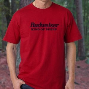 Budweiser King Of Beers Red T-Shirt Navy Blue Logo