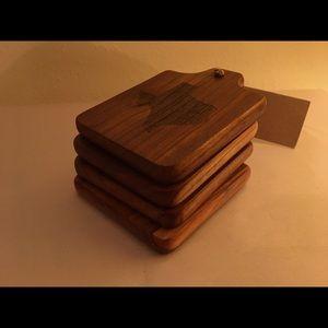 Texas Teak Natural Wood Cup Coasters