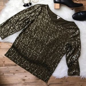 J.Crew Olive Sequin Holiday Top