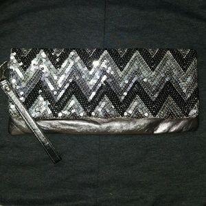 Metallic sequined clutch/ wristlet/ bag
