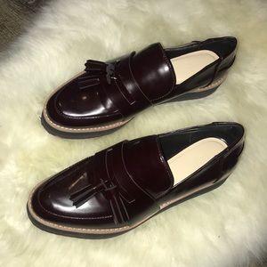 Zara platform patent loafers (size 37)
