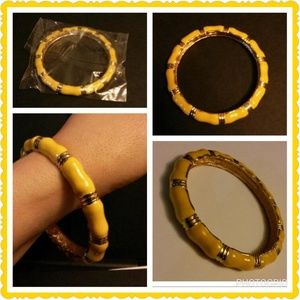 Yellow Enamel& Gold Plated Bamboo Design Bracelet