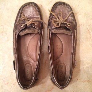 Dark Gold Metallic Sperry Top-Sider Loafers