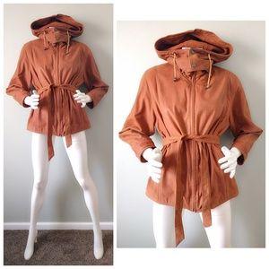VTG 80s TAN Caramel Hooded Leather BOMBER JACKET S