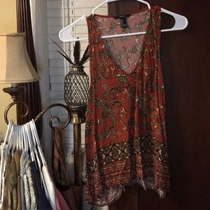 Orange Paisley Tank Top