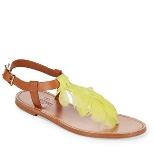 Valentino garavani leather sandals yellow feather