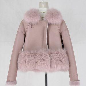 Dusty Pink Leather, Shearling Fur Moto Jacket
