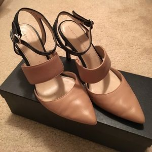 Banana Republic beige black strappy heels