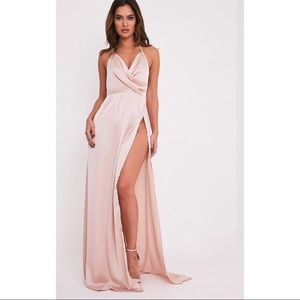 Lucie Blush Silky Plunge Maxi Dress with Slit