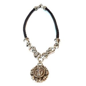 Brighton Silver and black leather necklace.