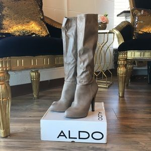 Taupe knee high heeled boots with box