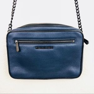 Michael Kors Blue And Gunmetal Jetsetter Crossbody