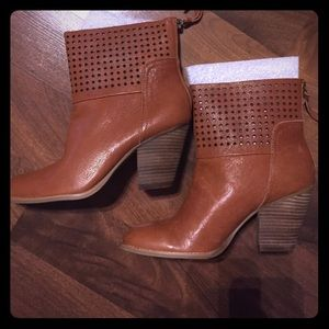 Cognac Leather Booties NWT