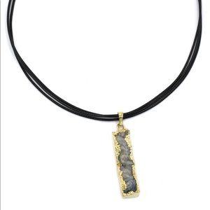 Fashion shiny original marble leather necklace