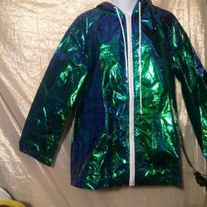 c1936740d Jackets & Coats | Pretty Little Thing Holographic Green Blue Hopdoe ...