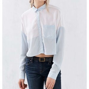 BDG colorblocked cropped button down shirt