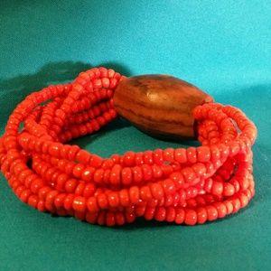 Boho coral and wood bracelet
