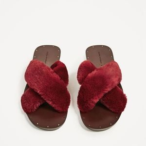 Zara Maroon Flat Furry Criss-Cross Slides