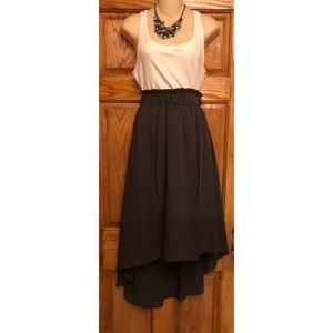Dark Olive Green High to Low Skirt