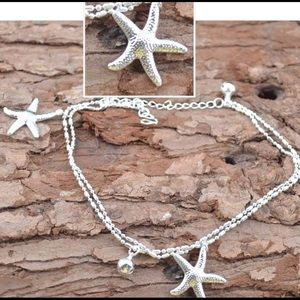 Silver Tone Starfish Anklet for Women