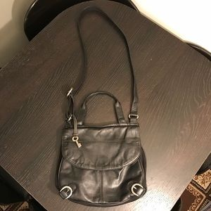 FOSSIL Black Leather Canvas Flap Crossbody Bag