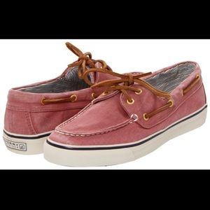 Women's Red Salt Washed Canvas Sperry's