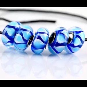 5 Glass Ocean Blue European Beads